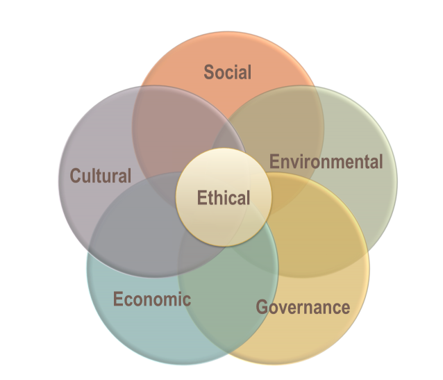 Sustainability Dimensions - social, environmental, cultural, economic, governance, ethical